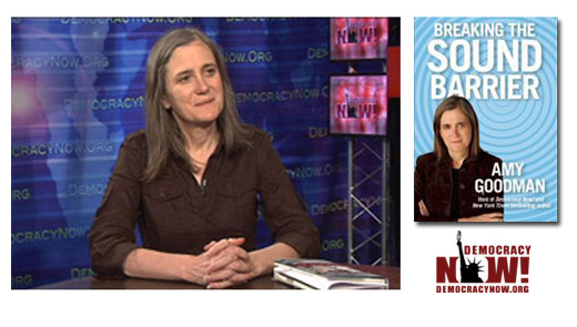 <h3>Amy Goodman</h3>Amy Goodman is the host and executive producer of &quot;Democracy Now!&quot; - a national, daily, independent, award-winning news program airing on over 500 stations in North America. Pioneering the largest public media collaboration in the U.S., &quot;Democracy now!&quot; is broadcast on Pacifica, Community, and National Public Radio stations, public access cable television stations, satellite (on Free Speech TV, Channel 9415 - the DISH Network), short wave radio, and the internet. The &quot;War and Peace Report &quot; provides their audience with access to people and perspectives rarely heard in the US corporate-sponsored media. Amy is also the co-author of the national best-seller &quot;The Exception To The Rulers: Exposing Oily Politicians, War Profiteers, And The Media That Love Them &quot; and &quot;Static: Government Liars, Media Cheerleaders, And The People Who Fight Back &quot; written with her brother David Goodman. <br /><a href=http://democracynow.org>Democracynow.org</a>