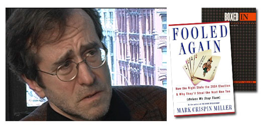 <h3>Mark Crispin Miller</h3>Mark Crispin Miller is a journalist and media critic. He is a professor of media studies at New York University, where he directs the Project on Media Ownership (PrOMO). He is well known both for his writing on all aspects of the media and for his activism on behalf of democratic media reform. His books include Boxed In: The Culture of TV, Seeing Through Movies, and Mad Scientists, a forthcoming study of war propaganda. Miller lives in New York City with his wife, Amy Smiley, and their two sons and special cat.<br /><a href=http://steinhardt.nyu.edu/faculty_bios/view/Mark_Crispin_Miller>NYU Website</a>